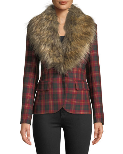 Detachable Faux-Fur Collar One-Button Tartan Wool Blazer