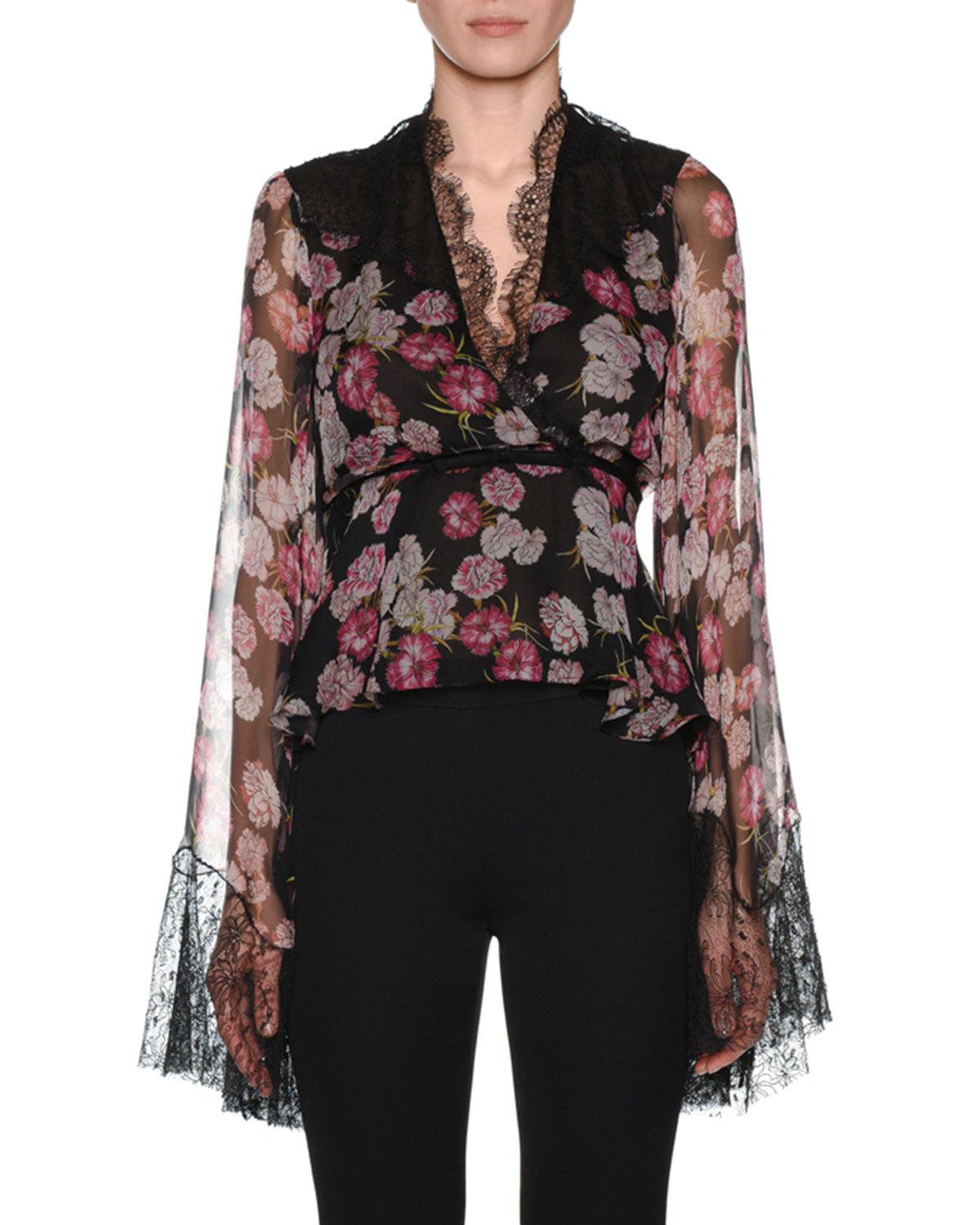 V-Neck Bell-Sleeve Floral-Print Silk Blouse w/ Wrap Belt & Lace Trim