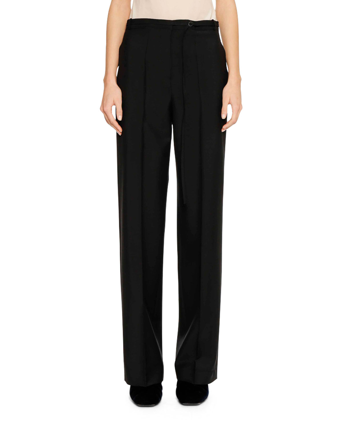 Flat-Front Straight-Leg Wool-Mohair Pants with Thin Belt
