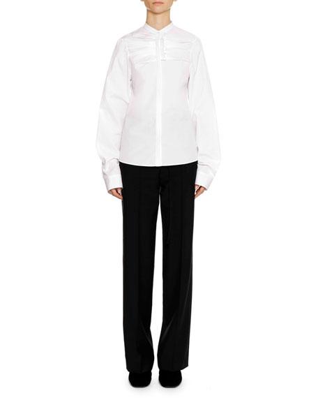 Jil Sander Band-Collar Long-Sleeve Cotton Shirt with Ruffle Detail