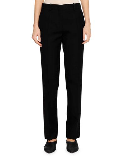 Flat-Fly Front Straight-Leg Virgin Wool Pants