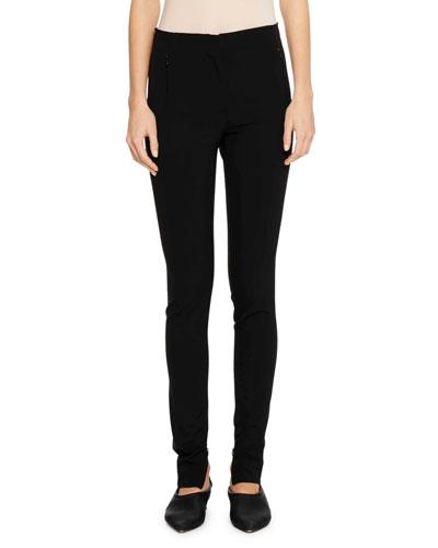Flat-Fly Legging Pants with Side-Zip Hem