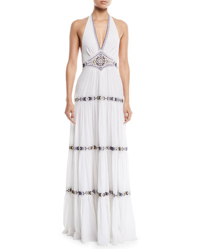 Dakota V-Neck Halter Tiered Embroidered Long Cotton Dress