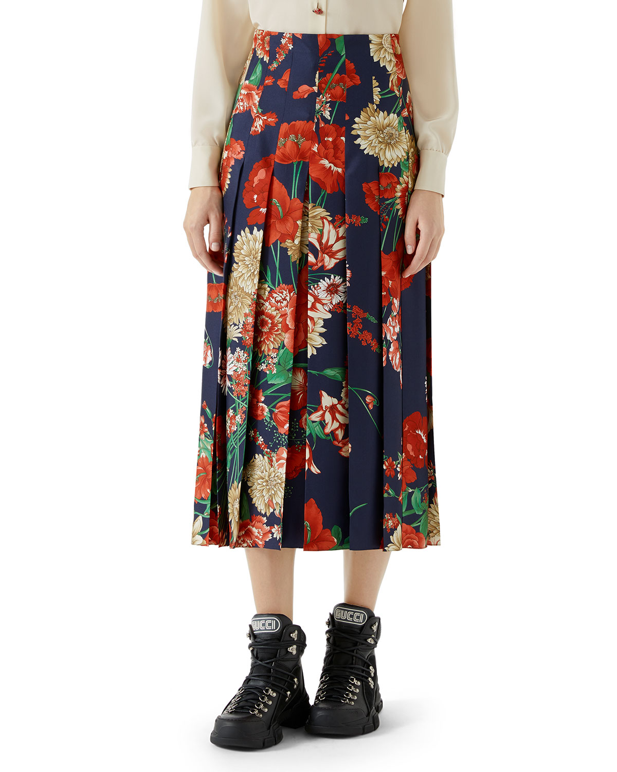 Spring Bouquet Print Silk Pleated Skirt in Blue