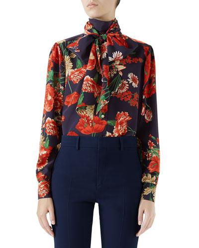 Spring Bouquet Silk Blouse w/ Self Tie Bow