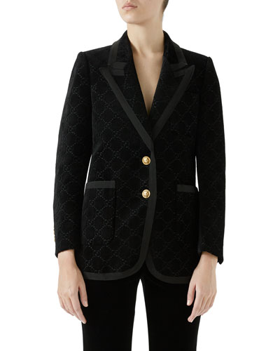GG Velvet Peak-Lapel Single-Breasted Two-Button Jacket