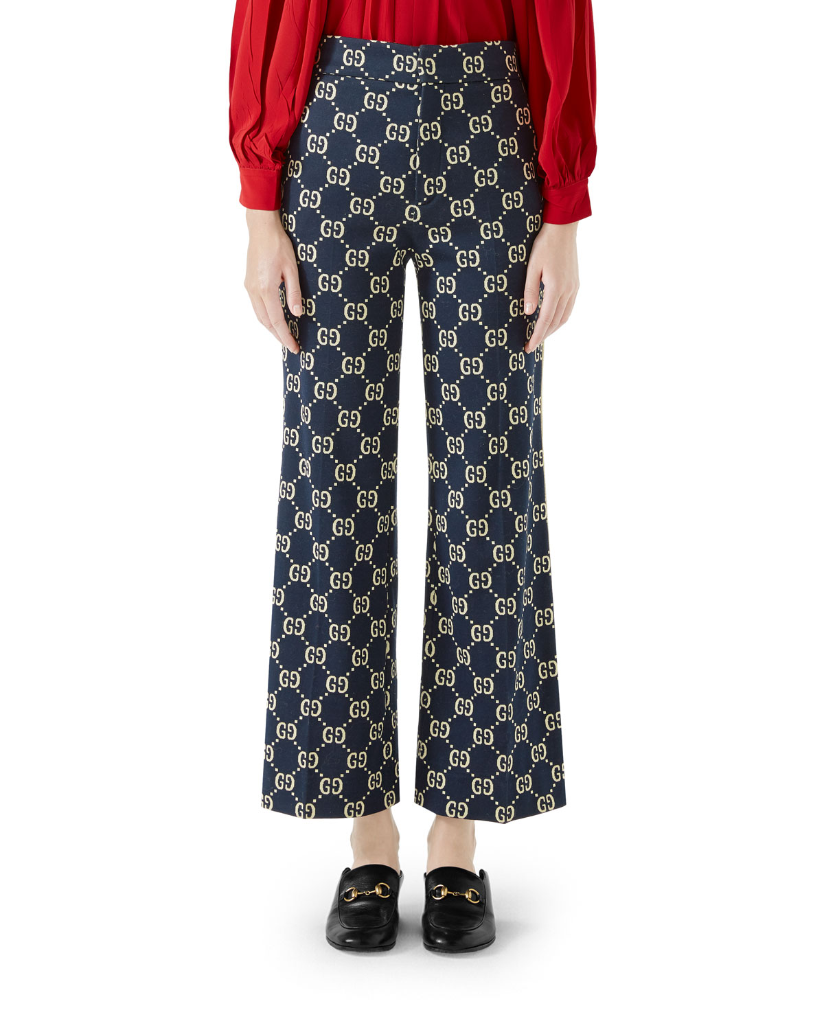Flared-Leg Double-G Crop Cotton Jersey Pants
