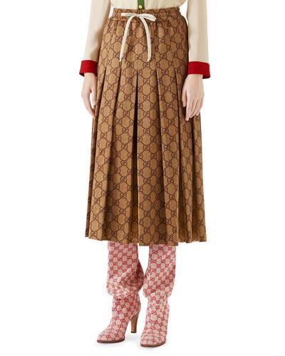 GG-Print Technical Jersey Pleated Midi Skirt
