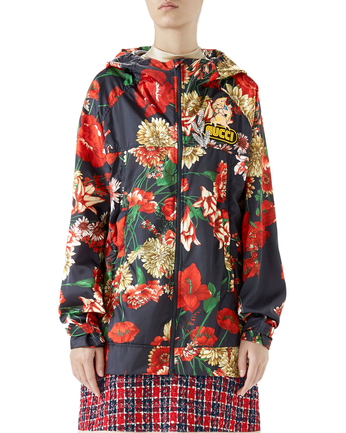 Zip-Front Hooded Spring Floral-Bouquet Print Nylon Jacket W/ Logo Patch in Blue