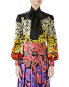 Gucci Long-Sleeve Floral Degrade Twill Blouse w/ Tie