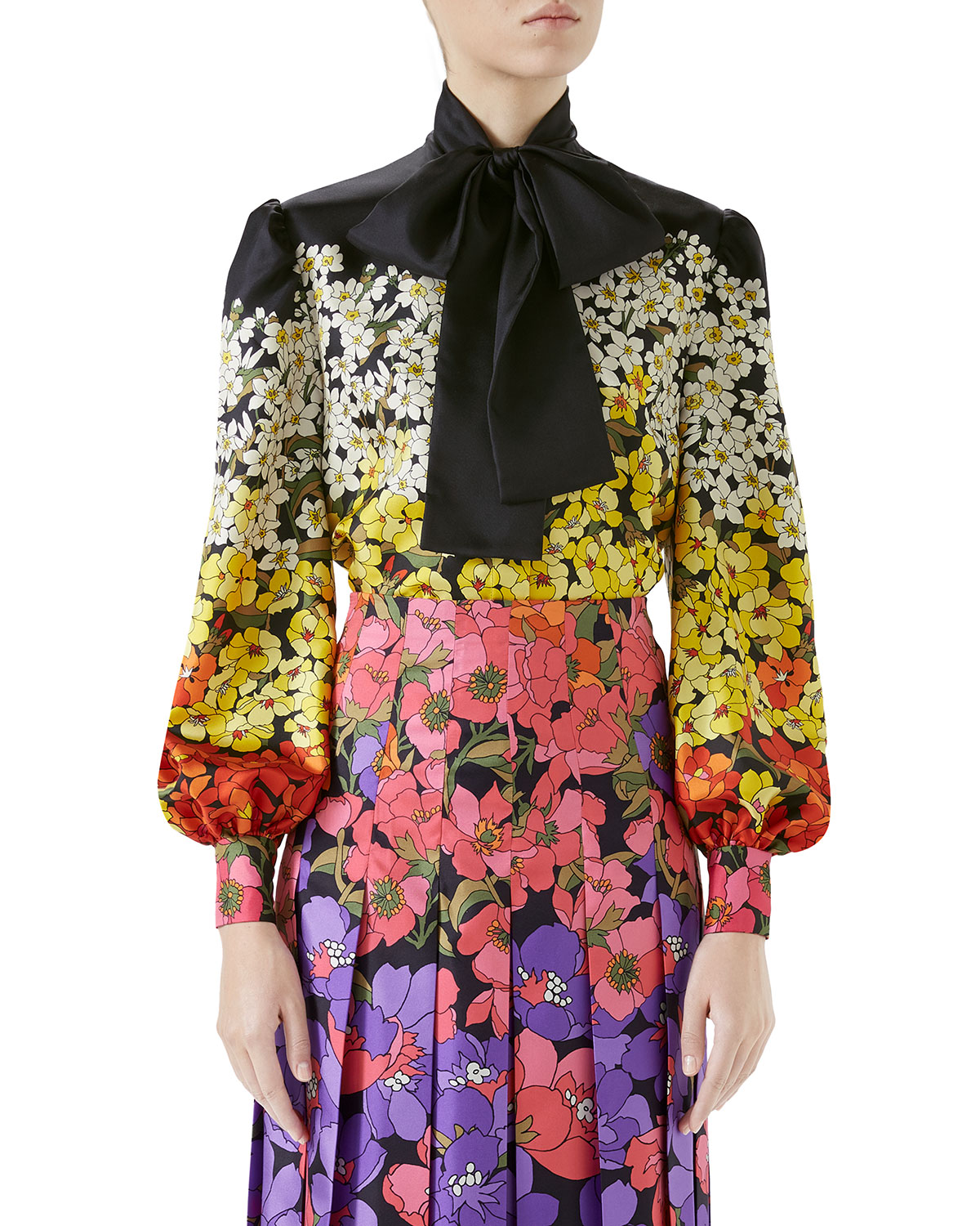 Long-Sleeve Floral DÉGradÉ Twill Blouse W/ Tie Neck in Black