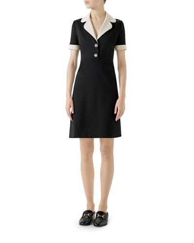 Short-Sleeve A-Line Jersey Dress w/ Contrast Trim
