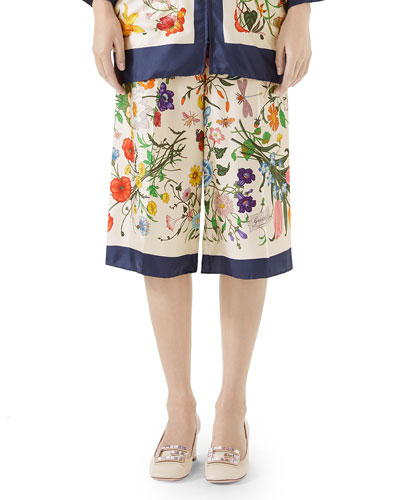 Floral-Print Silk Twill Cropped Pajama Culottes
