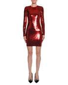 Long-Sleeve Round-Neck Liquid-Sequin Cocktail Dress