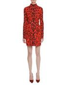Long-Sleeve Circle-Center Shirred Jaguar-Print Dress