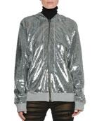 Zip-Front Hooded Sequin Jacket