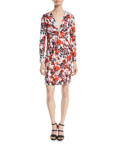 Thistle Abstract-Print Jersey Long-Sleeve V-Neck Mini Dress