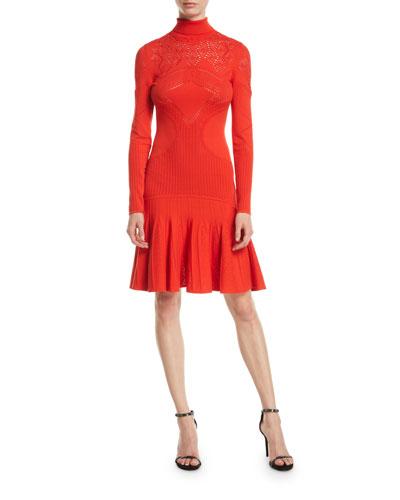 Mock-Neck Long-Sleeve Pointelle Knit Dress