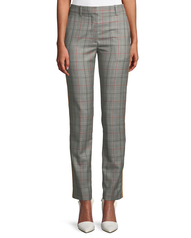 Slim Straight-Leg Glen-Check Plaid Cropped Pants, Multi Pattern