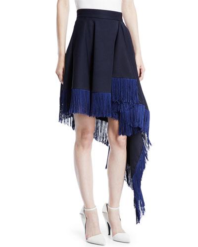 Asymmetric Flag-Side Fringe Back-Zip Skirt
