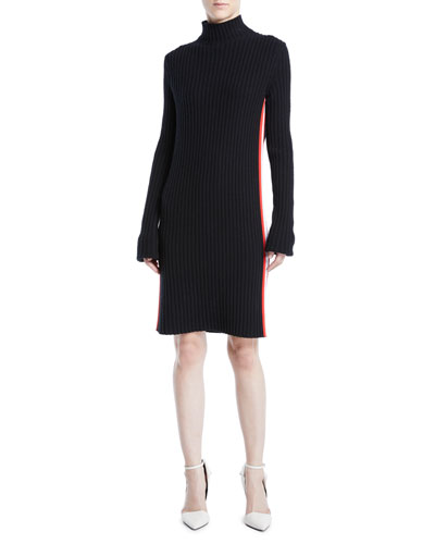 Mock-Neck Long-Sleeve Ribbed Sweaterdress w/ Stripe Sides