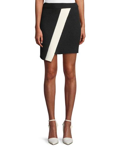 Ribbed Asymmetric Hem Mini Skirt