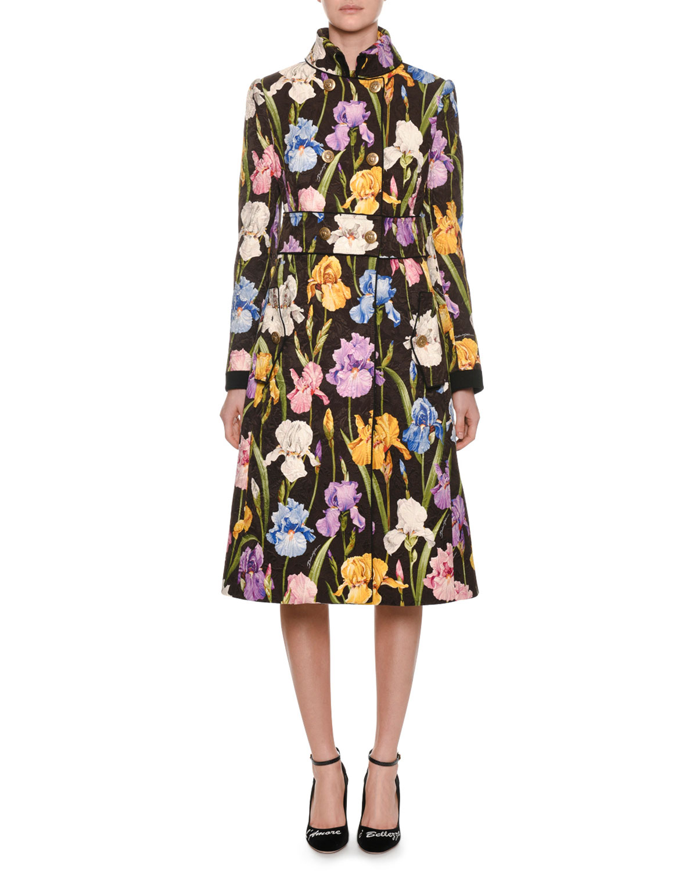 Iris-Print Brocade Coat, Black Pattern