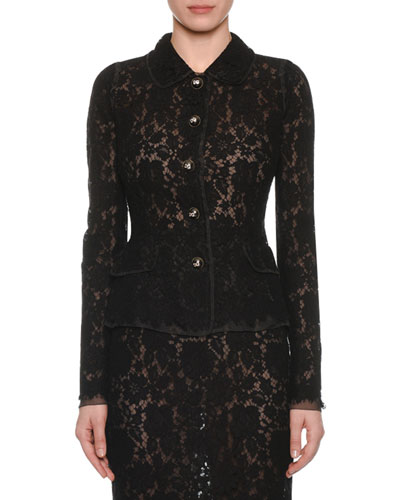 Button-Front Long-Sleeve Fitted Lace Jacket