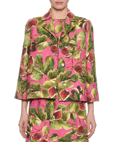 Fig-Print Boxy Brocade Jacket