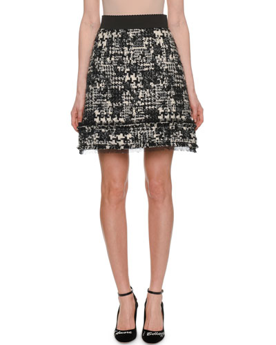 A-Line Tweed Short Skirt