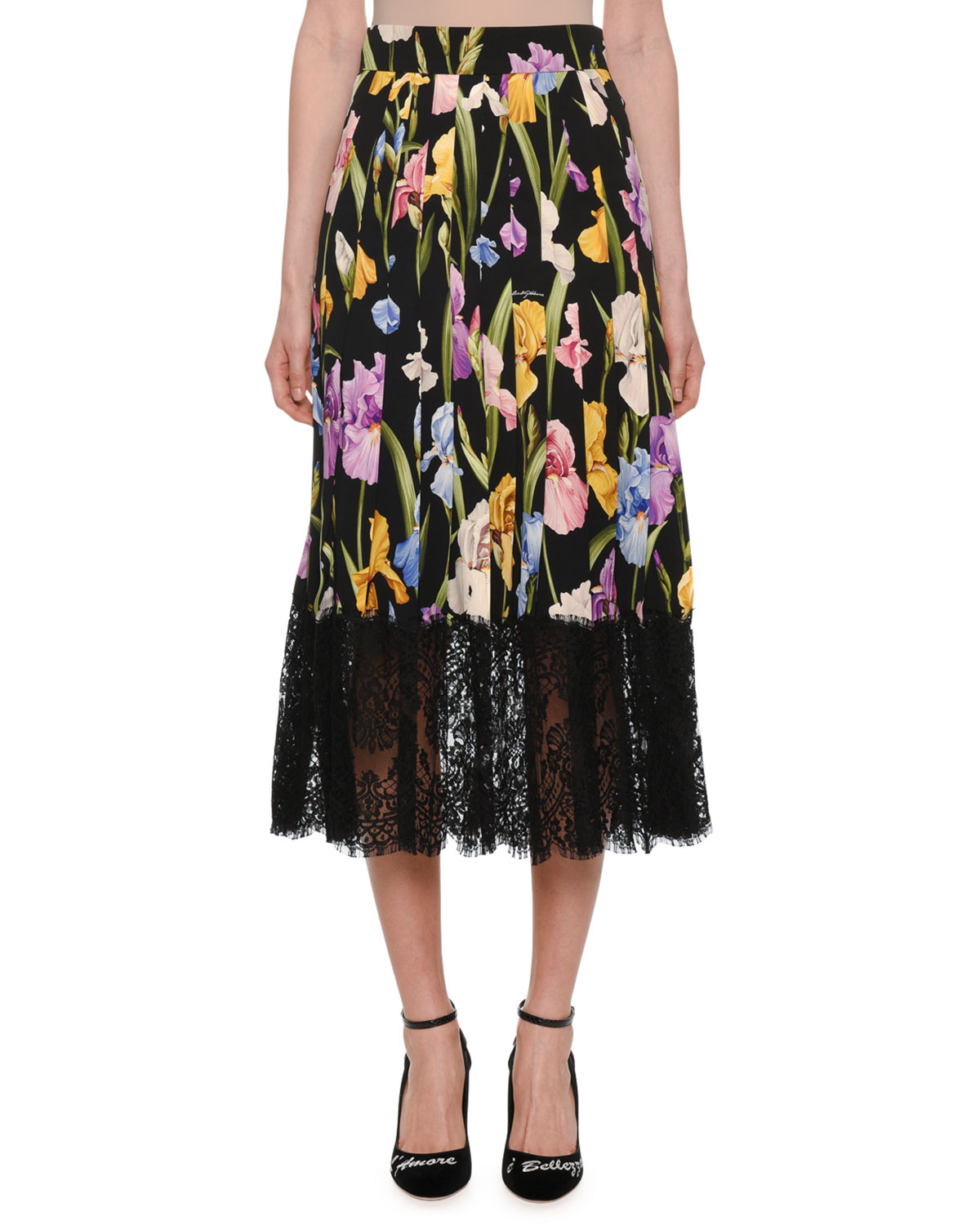 Lace-Trimmed Pleated Floral-Print Silk-Blend Midi Skirt, Black Pattern