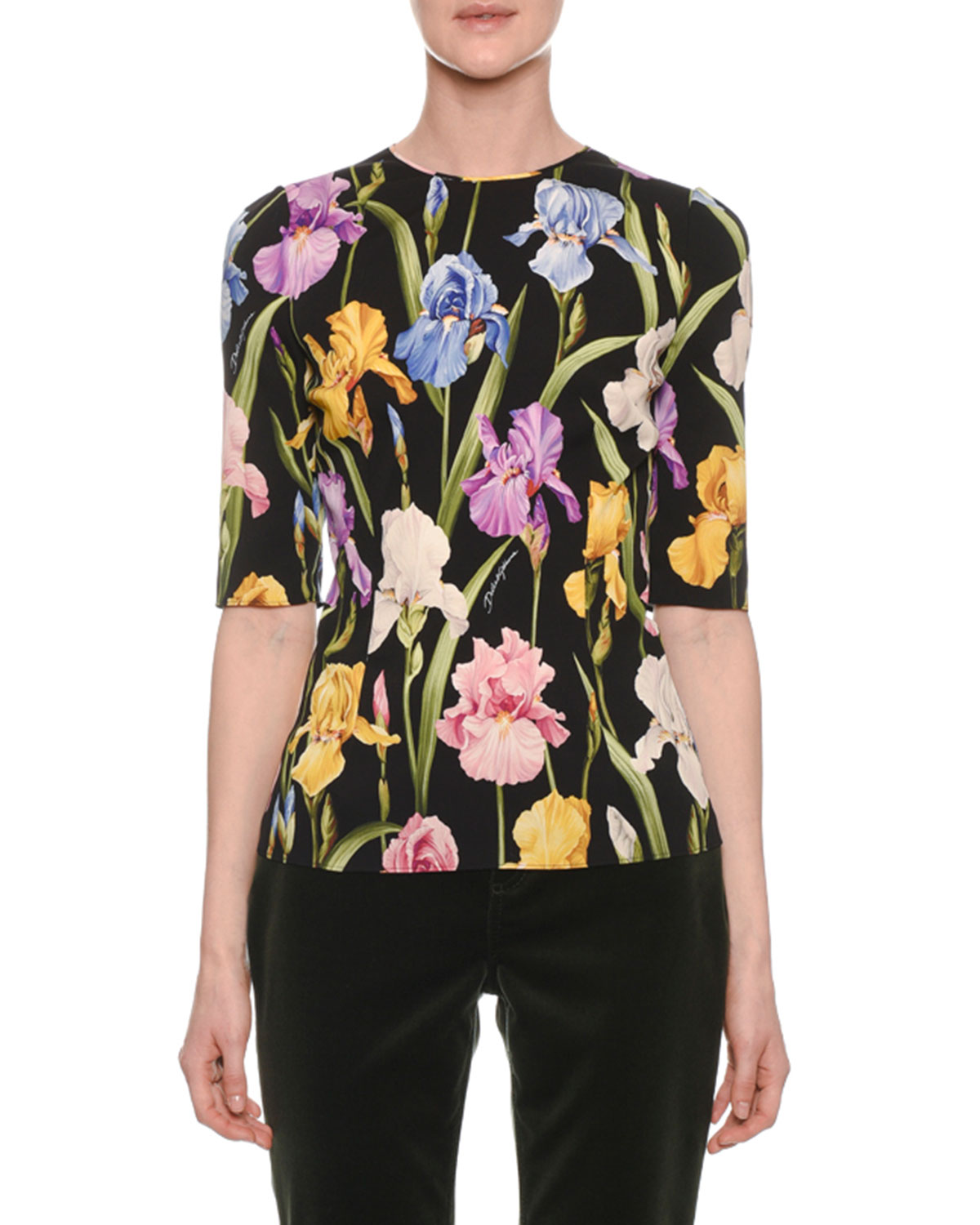 Elbow-Sleeve Iris-Print Fitted Charmeuse Top, Black Pattern