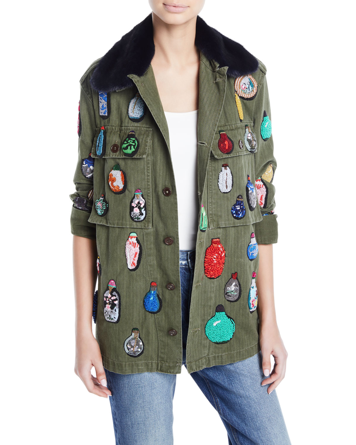 LIBERTINE Button-Front Cotton Jacket W/ Beaded Ornament Detail in Dark Green