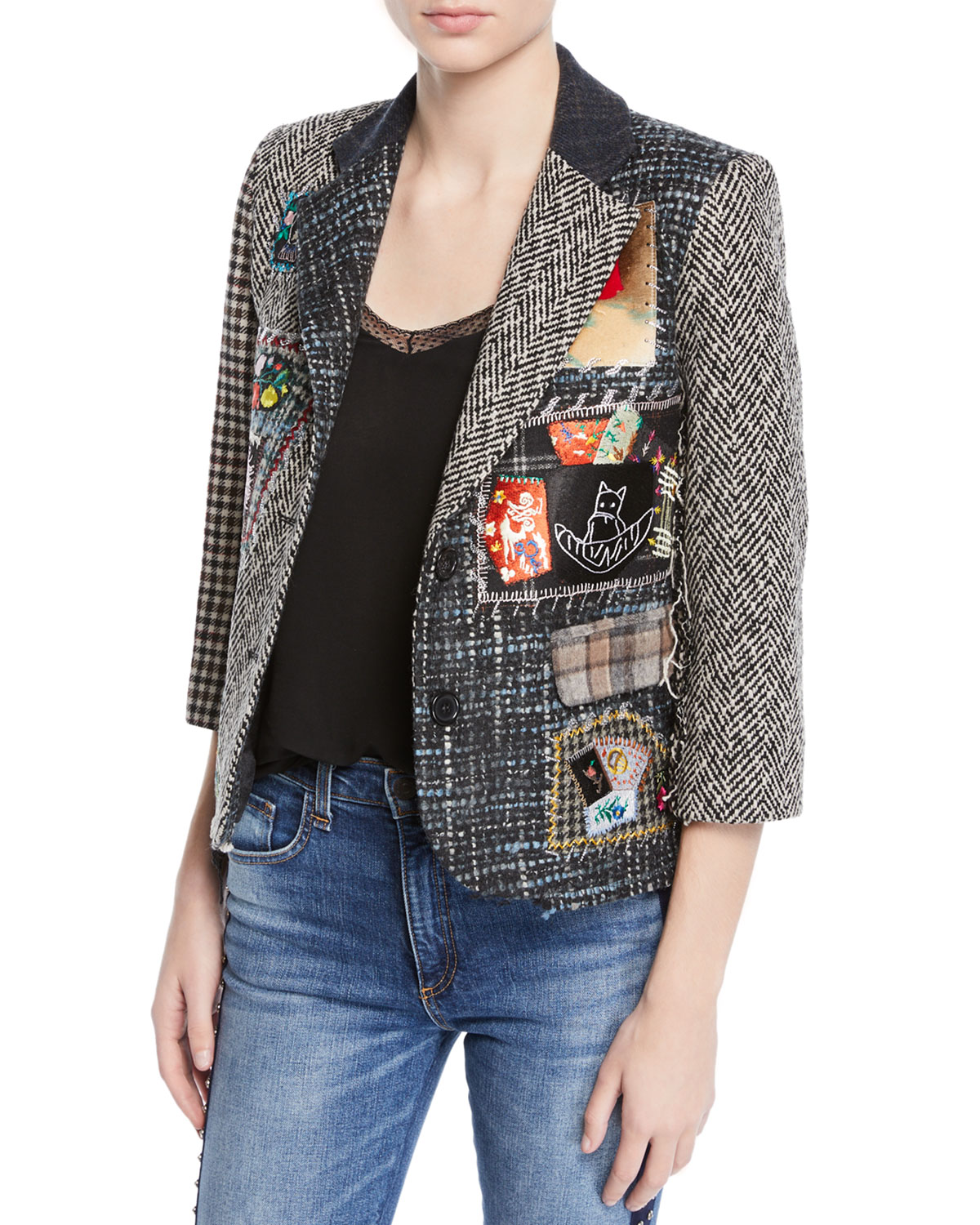 LIBERTINE Multimedia Tweed Patchwork Blazer in Green Pattern