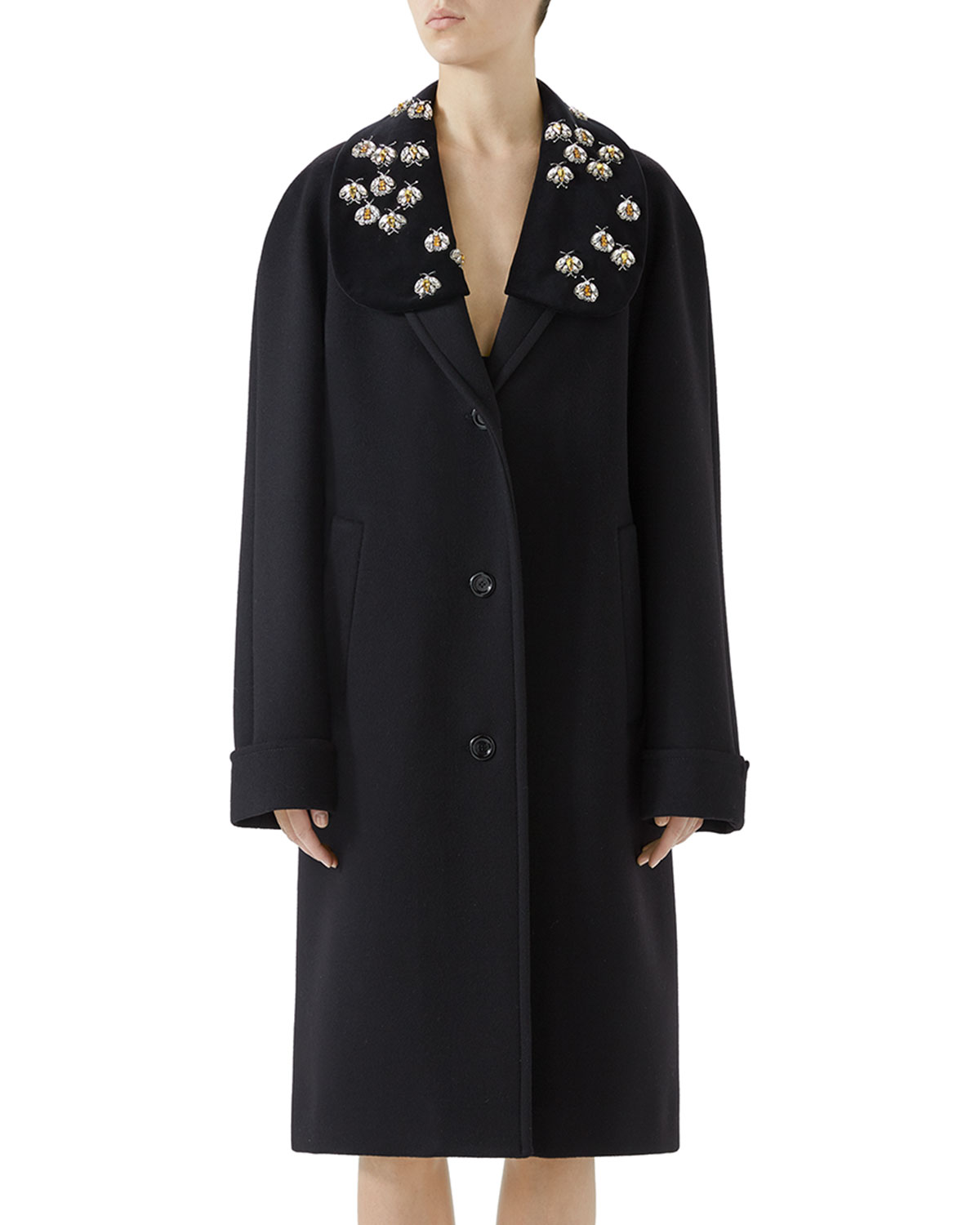 Bee Embroidered Wool Overcoat in Black