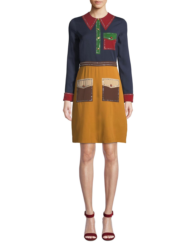 Long-Sleeve Trompe L'Oeil Georgette Dress, Multi Pattern