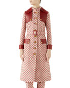 Gucci Button-Front GG Canvas Trench Coat w/ Leather
