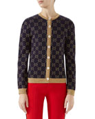 Gucci Crewneck Button-Front GG Metallic Jacquard Cardigan