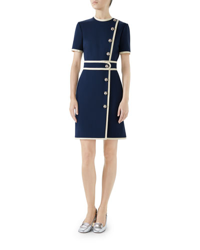 Short-Sleeve Two-Tone Compact Jersey Dress w/ Tiger Buttons