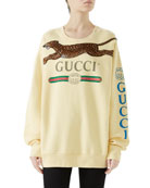 Gucci Logo & Panther Long-Sleeve Sweatshirt