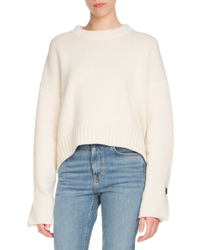 Crewneck Folded Button-Cuffs Wool-Cashmere Sweater