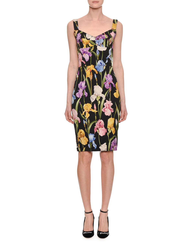 Sweetheart-Neck Sleeveless Iris-Print Sheath Cocktail Dress, Black Pattern