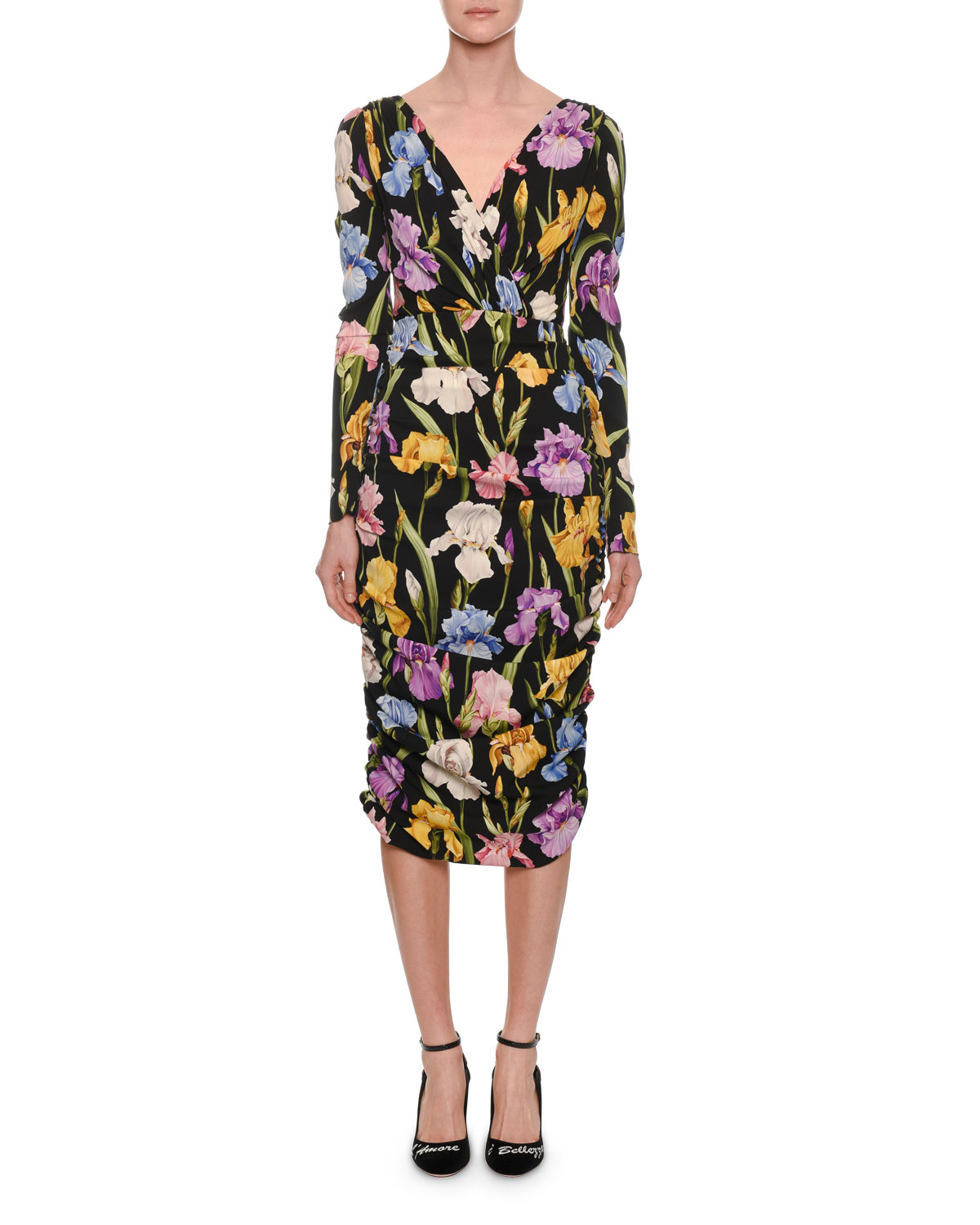 Long-Sleeve V-Neck Ruched Iris-Print Tea-Length Daytime Dress, Black Pattern