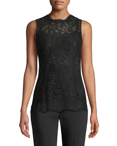 914b4c25cba9ca Quick Look. Dolce   Gabbana · Crewneck Sleeveless Lace Shell Top. Available  in Black