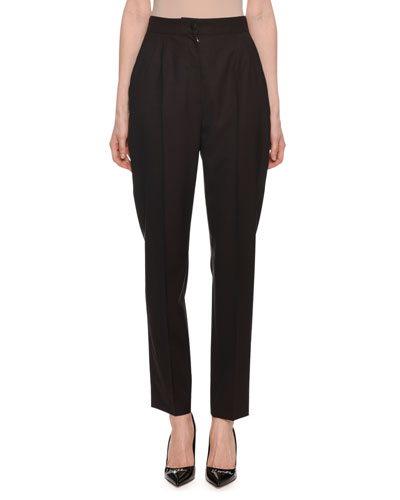 High-Rise Pleated Front Straight-Leg Wool Pants