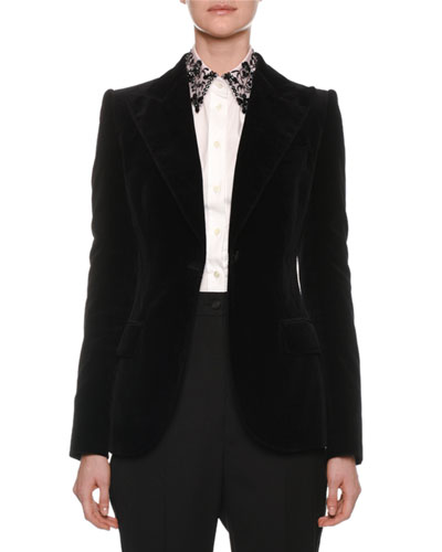 Peak-Lapel One-Button Velvet Jacket