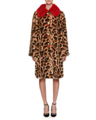 Dolce & Gabbana Strawberry-Buttons Leopard-Print Faux-Fur