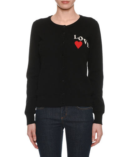 Crewneck Button-Front Long-Sleeve Cashmere Cardigan w/ Love Patch