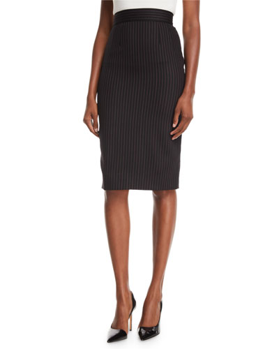 Tubino High-Waist Pinstripe Pencil Skirt