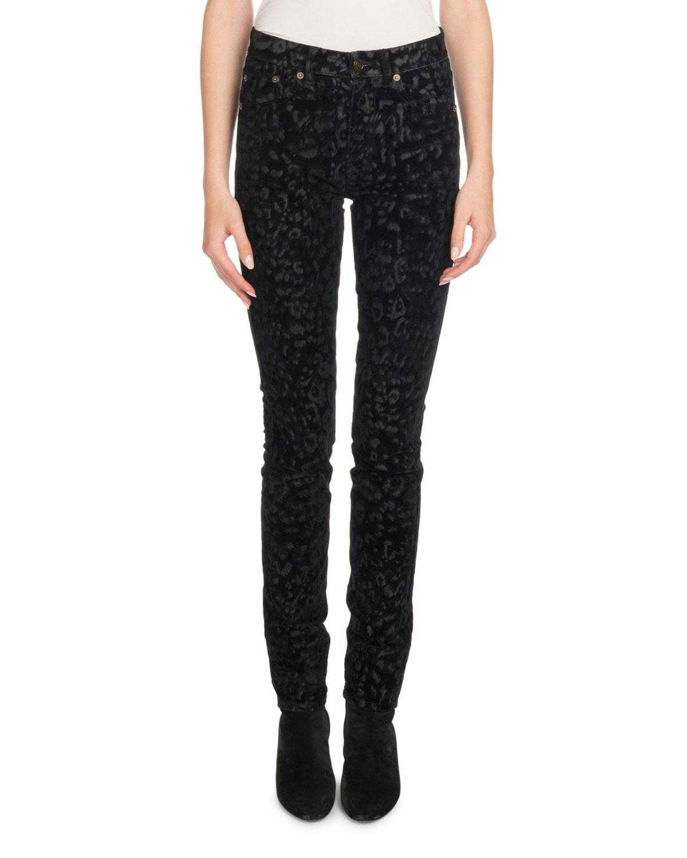 Mid-Rise Skinny-Leg Leopard-Flock Velvet Jeans